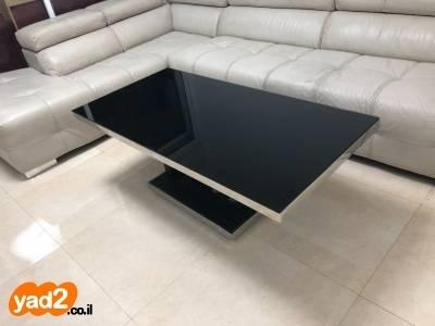ניס שולחן סלון עם זכוכית שחורה ריהוט שולחנות יד שניה - ad CL-16