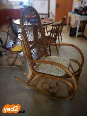 מדהים כסא נדנדה וינטג' מקסים מבמבוק, ריהוט כיסא יד שניה - ad XK-89